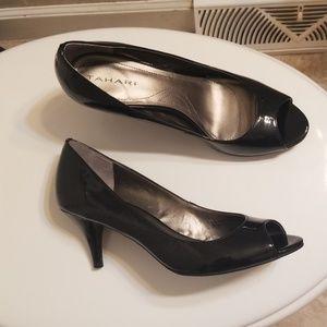 Tahari  Black Open Toe Heels Size 7